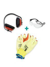 Veiligheidsset (PBM Kit): Werkhandschoenen + Oorkappen + Veiligheidsbril