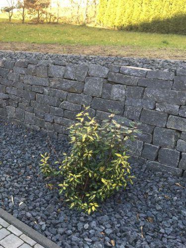 Basalt muurstenen aangelegde stapelmuur