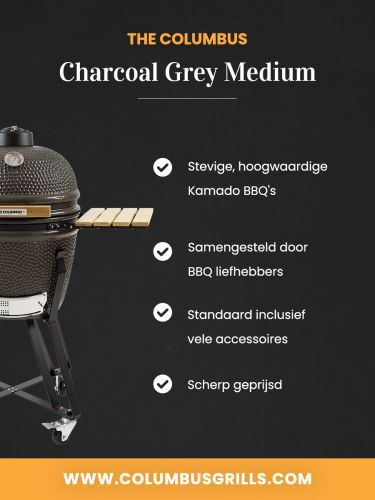 The Columbus Medium Grey Compleet Kamado