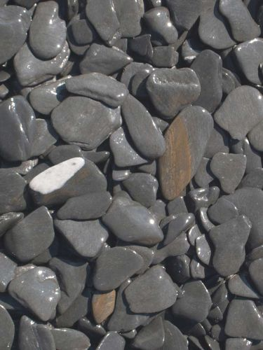 Flat Pebbles Schwarz 15 - 30mm naß