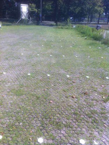 Parkeerterrein met Grindmatten / Grasmatten groen Easygravel® en markeerdoppen