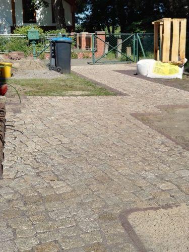 Kopfsteinpflaster Granit gelb 8 - 10 verlegt