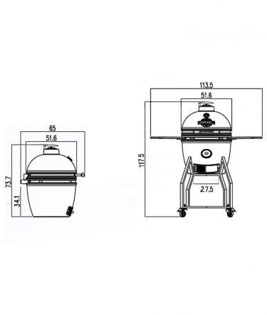 Yakiniku Kamado Medium Compleet, model 2021, afmetingen