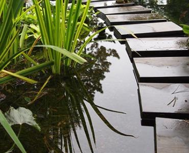 Kies um und in einem Teich verwenden