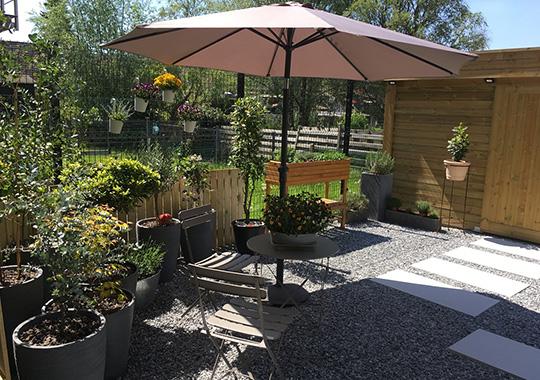 Jardín con Grava Gris Nevada